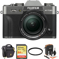 FUJI FILM X-T30 Mirrorless Digital Camera with 18-55mm Lens and Accessories Kit (Charcoal Silver)