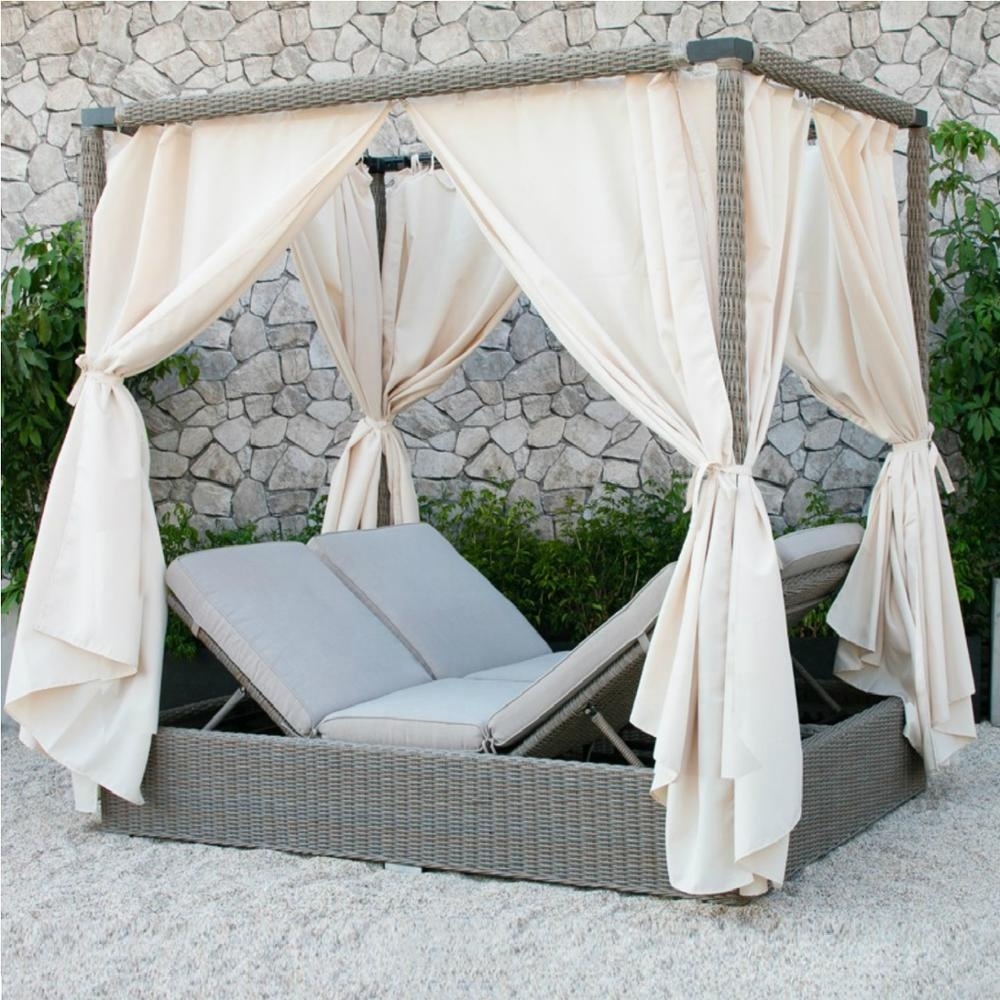 - Wicker Outdoor Rattan Double Sunbed With Canopy- Poly Rattan