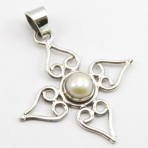 "Solid Sterling Silver Pearl June Birthstone Pendant 1.7"" Women's Fashion Jewelry"