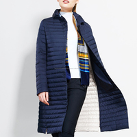 Thin Stripes Padding Fashion Winter Casual Navy Blue Long Coat HIJQJW10 Quilted Jacket For Women
