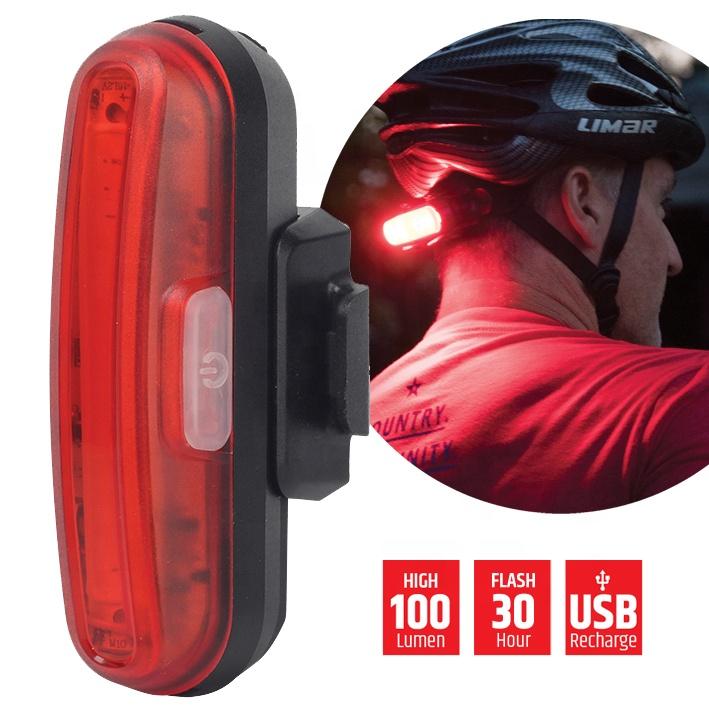 Easy install Super Bright 100 Lumens COB ABS USB Rechargeable LED Helmet Light for bike or motor
