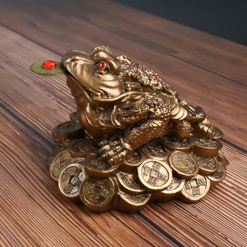 Lucky golden toad decoration three-legged toad home feng shui jin chan chu Money Frog Statue with Lucky