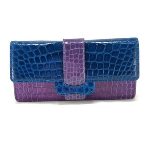 Genuine Crocodile Horizontal Long Flap Fashion Leather Wallet for Women