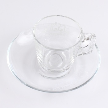 Logo Printed Glass Turkish Coffee and Espresso Cup and Saucer