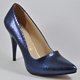 Women High Heel Shoes Pumps Stiletto - Navy -Patterned- Shiny- Fully PU - Premium Quality & Craftsmanship - Made in Turkey - 100