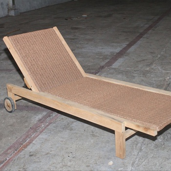 TEAK OUTDOOR FURNITURE - WICKER SUN LOUNGER - ANDRORRA BY PT SEGORO MAS SOLO