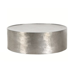 Hammered Metal Drum Coffee Table