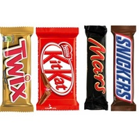 Twix, Mars, Snickers, Milky Way, Galaxy, Hazelnut, Chocolate Bars