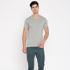 Hot selling basic style plain grey color cotton men's round neck T shirt