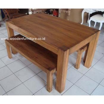 Teak Dining Table Bench Set Indonesia Wood Indoor Furniture Room
