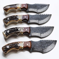 CUSTOM HANDMADE DAMASCUS STEEL FIXED BLADE TRACKER KNIFE E