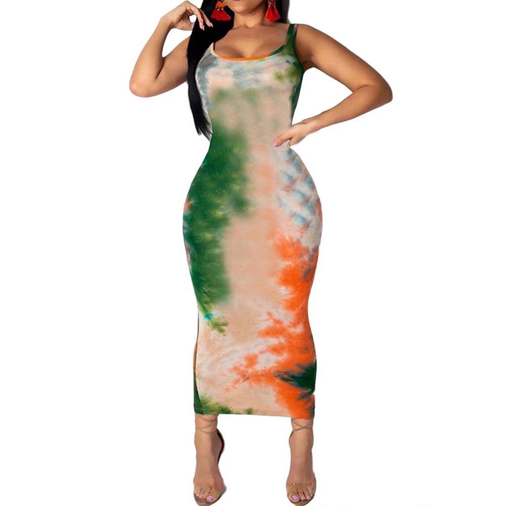 e0314b073d Colorido verde vestido cuello redondo Maxi Sexy vestido Bodycon Slim  cintura imprimir Vestidos de Noche de