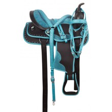 Turquoise Blue Western คริสตัลสังเคราะห์แสดง Trail Saddle Tack, Western <span class=keywords><strong>ม้าอาน</strong></span>