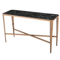 Luxury marble table top long narrow console table with stainless steel base for furniture