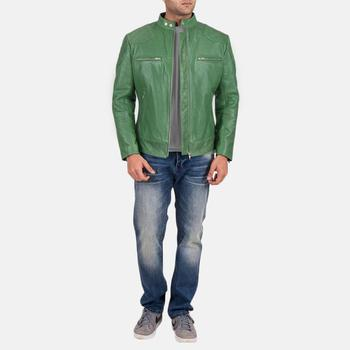 Biker /fashion Cow Hide/ sheep/ Goat Leather Slim Fit Boys Men Jacket green color latest/new design pure leather men jacket