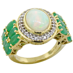 18 K Yellow Gold Plated 925 Sterling Silver Ring with Natural Emerald, Natural Ethiopian Opal and Natural White Zircon