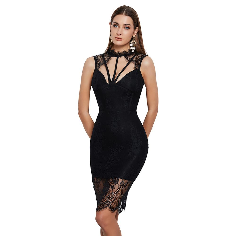 Hot Selling Black Strappy Backless Dresses Women Lace Bandage Dress Cut Out Zip Sexy Bodycon Dress Back Casual Maxi Dress