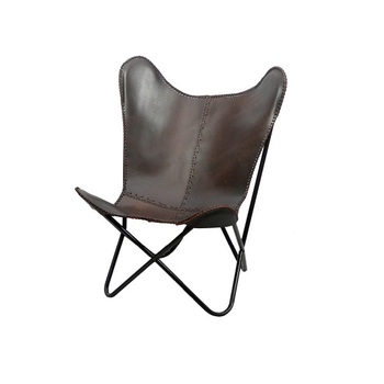 Iron Folded Frame Leather Erfly Chair