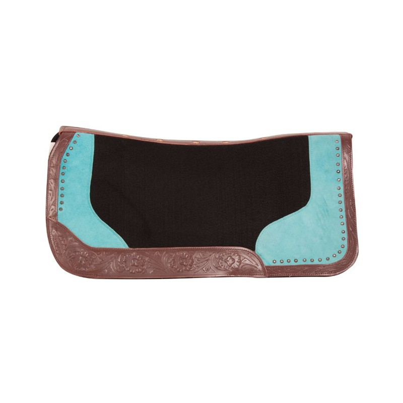 Black Felt Turquoise Show Western Barrel Saddle Pad