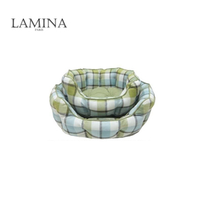 Fancy plaid round padded pet bolster sofa dog bed
