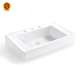 Solid surface bathroom vessel sinks, White bathroom sink countertop bowl artificial stone basin