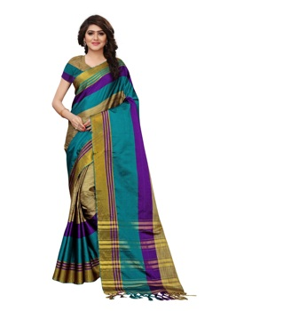 Indian saree for women latest Women's saree designer party wear Cotton Silk Printed Sari with Blouse Piece