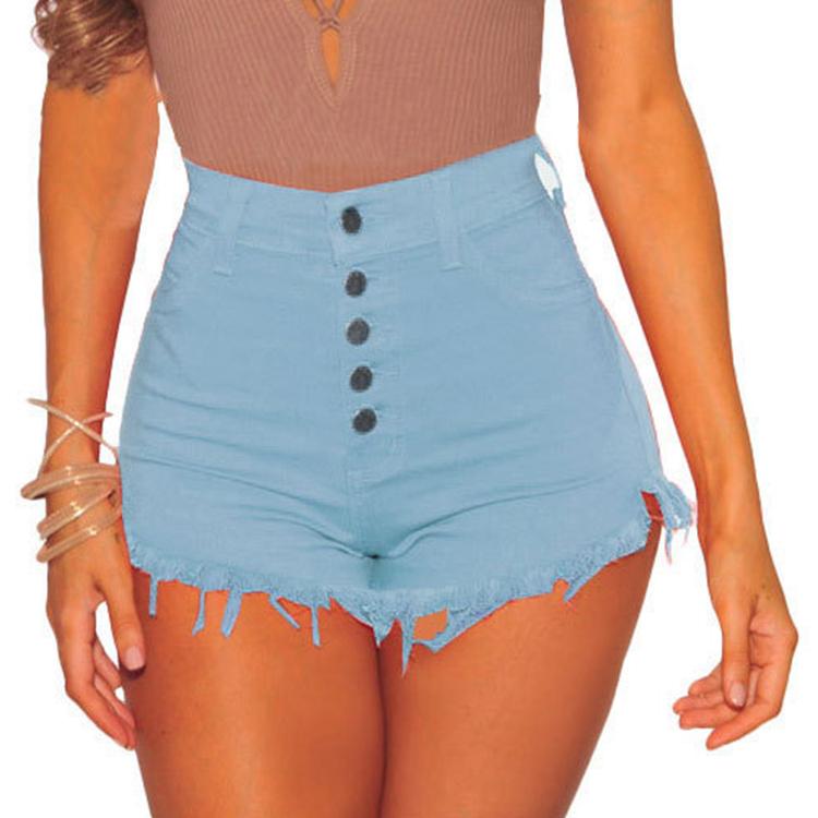 Wholesale in stock blue sexy women high waist short jeans