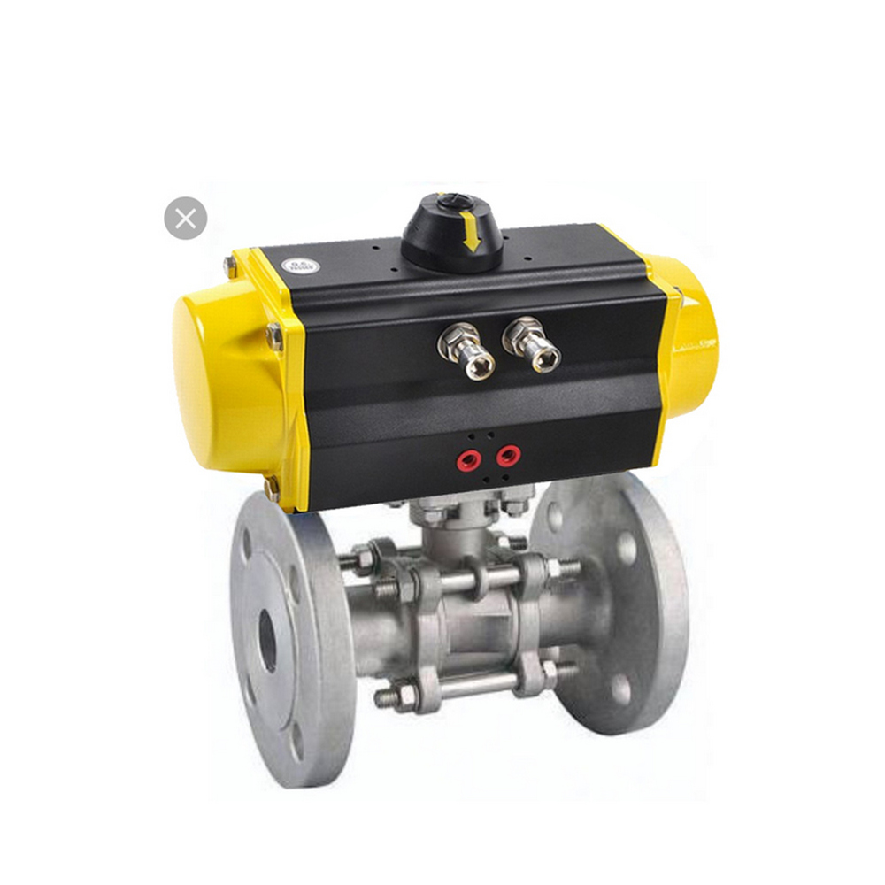 COVNA DN25 1 inch 2 Way 3 PC Double Flanged Stainless Steel Ball Valve with Pneumatic Actuator