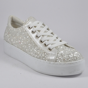 New Arrival Women Shoes Flats Sneakers - White - Jeweled - Fully PU - Premium Quality & Craftsmanship - Made in Turkey - 1005