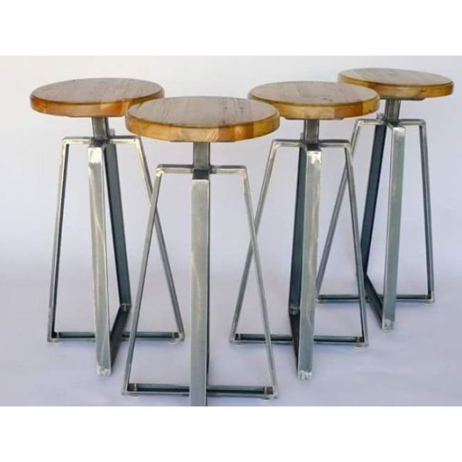 Incredible Industrial Vintage Round Wooden Top Adjustable Bar Stool Buy High End Wood Bar Stools Vintage Metal Bar Stool Reclaimed Wood Bar Stool Product On Pabps2019 Chair Design Images Pabps2019Com