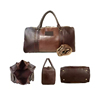 Big size Brown PU leather duffle travel bag for men