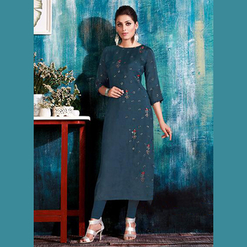 a6982d5b20 Pure Muslin Hand Work Designer Party Wear Kurtis Wholesale Collection