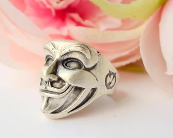 Movie masker Lachende man Hollywood movie sieraden legendarische Ring Guy Fawkes