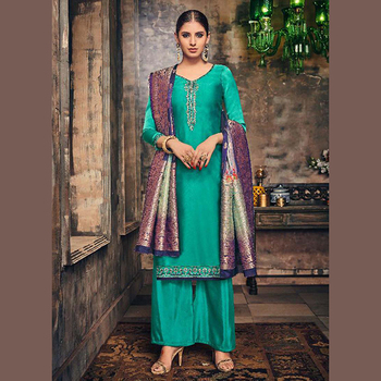 43f801f963 Designer Festival Special Palazzo Suits Collection With Banarasi Dupatta
