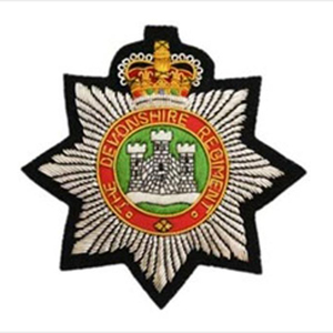 Devonshire Regiment Bullion Wire Blazer Badge UK military pocket badges  jacket uniform army hand embroidery