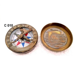 Brass Antique sundial Compass With Lid