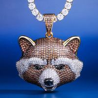 KRKC&CO Rocket Raccoon Bear Pendant 14K Iced out Diamond Pendant Hip Hop Jewelry for amazon/ebay/wish online store for Wholesale