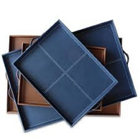 Office desk accessories file leather letter tray/file tray