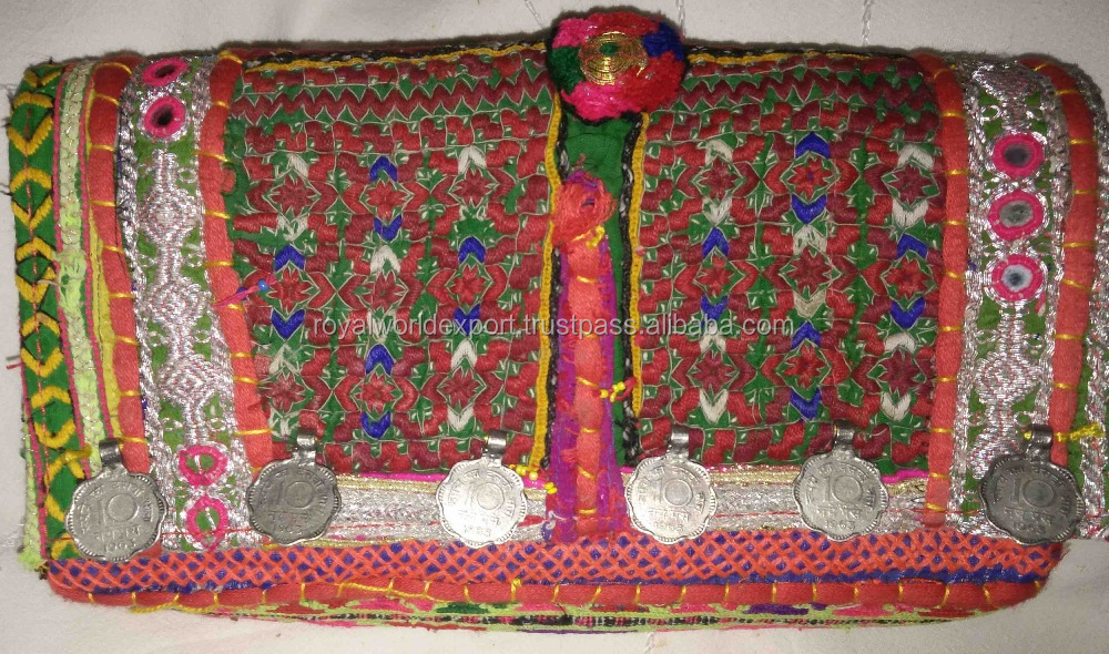 Vintage Banjara tribal Indian gypsy clutch with coins/Beautiful patchwork handmade purse with beaded mirror work tassel