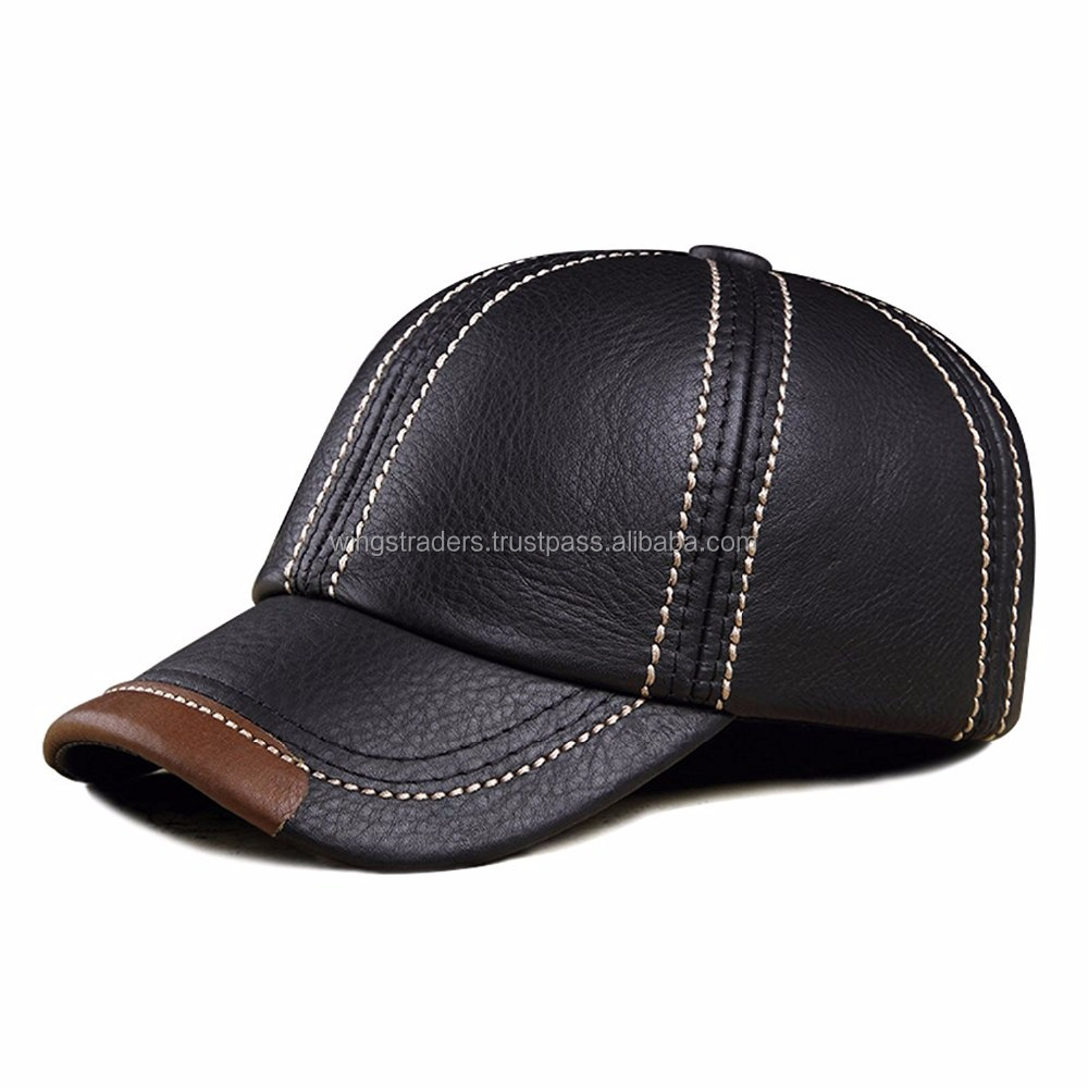 Baseball Cap Adjustable Black Cowhide Leather Ball Cap Hat ,Factory Price Leather Cap
