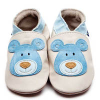 Leather Baby Shoes With Blue Bear