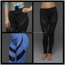 Kiteng High Quality 2016 New Design Wicking Fabric Yoga Pants With Mesh panel Office In United States (USA)small minimum