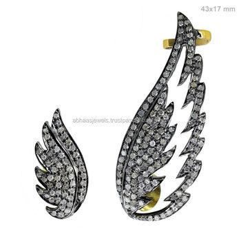 925 Sterling Silver Pave Diamond Angel Wings Ear Cuffs Fashion Earrings Whole