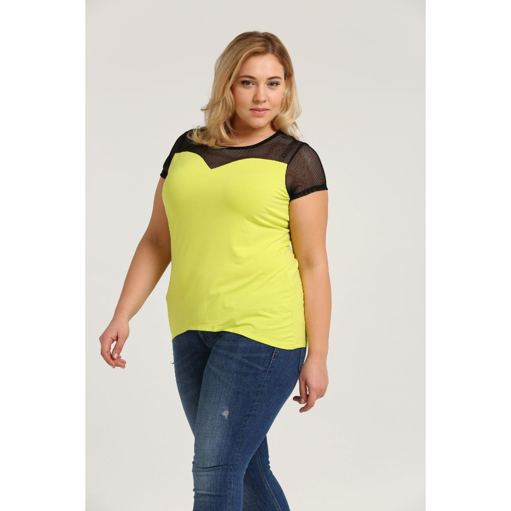Wholesale Neon Color See Through Fashion Plus Size T Shirt