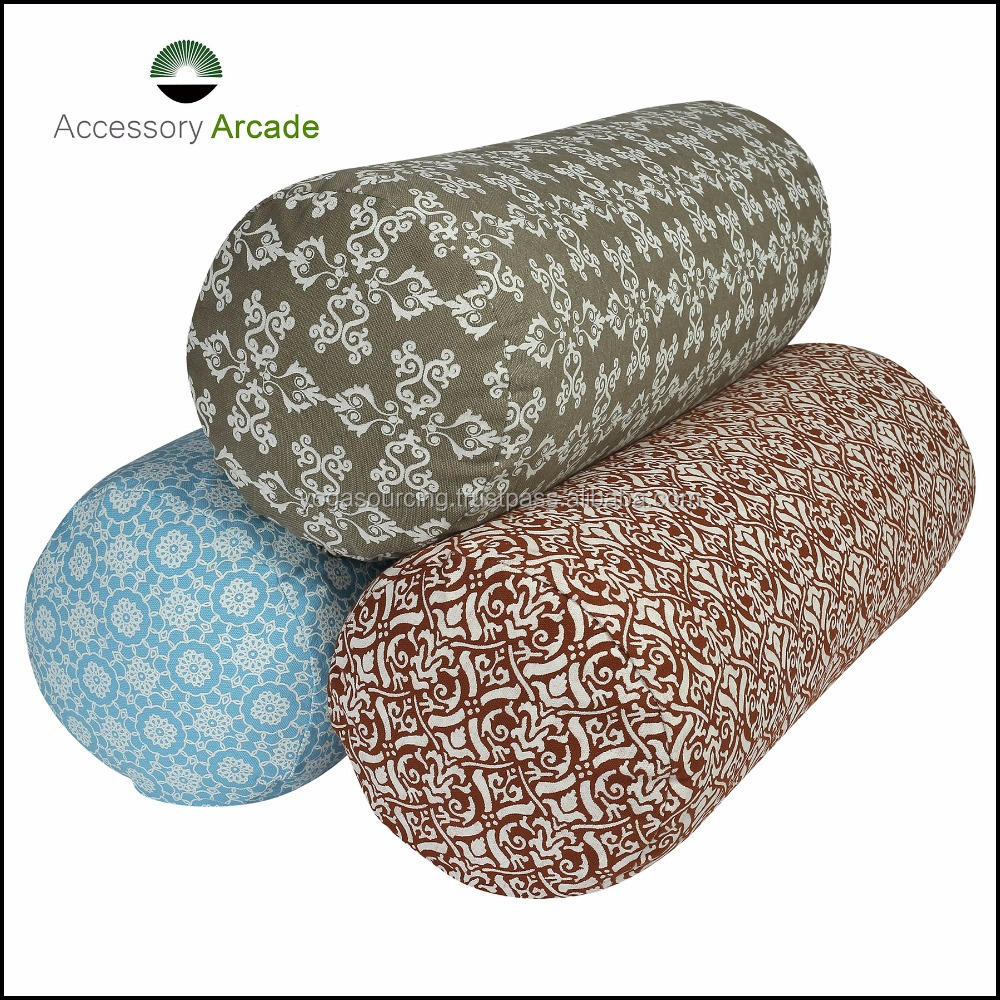 Buckwheat or Cotton filled new printed Yoga Bolster for performing yoga