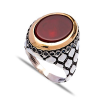 Fashion Wholesale Handcrafted 925 Turkish Silver Agate Authentic Men Ring