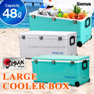 Cooler box48L Japan made metal buckle and cool with wheel water drain pp fishing cooler box HOLIDAY LAND COOLER CBX 48L