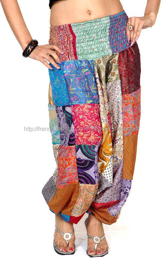 pantalon sarouel de colorant de cravate rayonne hindous vtements vetement saree soie travail patch pantalons - Colorant Vetement