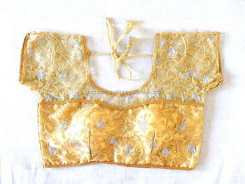 781c187ecc12b 2016 Golden embroidered Blouse   readymade Fancy Net Blouse   Party wear  Silk blouse   fancy