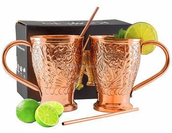 moscow mule mug 100% copper set of 2 | 100% Pure Copper mugs Gift Mug for Moscow Mules